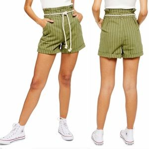 NEW Topshop Striped Paperbag Shorts Green
